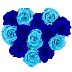 The Royal Roses - Rosenbox in Herzform mit blauen und babyblauen Rosen
