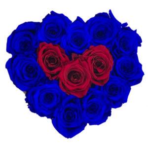 The Royal Roses - Rosenbox in Herzform mit blauen und roten Rosen