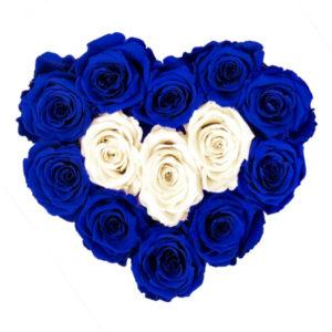 The Royal Roses - Rosenbox in Herzform mit blauen und weißen Rosen