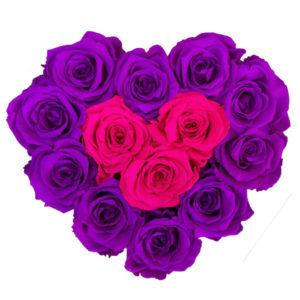 The Royal Roses - Rosenbox in Herzform mit magenta und pinken Rosen