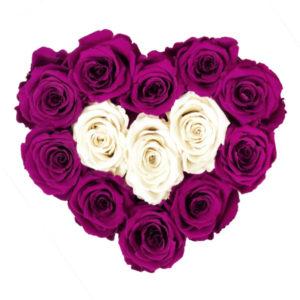 The Royal Roses - Rosenbox in Herzform mit magenta und weißen Rosen