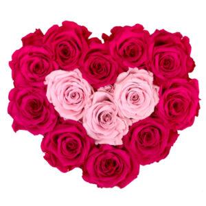The Royal Roses - Rosenbox in Herzform mit pinken und rosanen Rosen