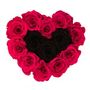 The Royal Roses - Rosenbox in Herzform mit rosanen und schwarzen Rosen