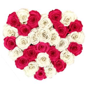 The Royal Roses - Rosenbox in Herzform mit pinken und weißen Rosen