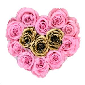 The Royal Roses - Rosenbox in Herzform mit rosanen und goldenen Rosen