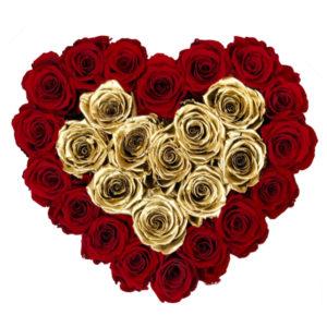 The Royal Roses - Rosenbox in Herzform mit roten und goldenen Rosen