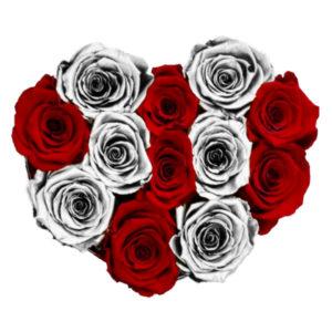 The Royal Roses - Rosenbox in Herzform mit roten und silbernen Rosen