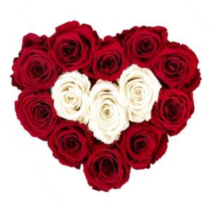 The Royal Roses - Rosenbox in Herzform mit roten und weißen Rosen
