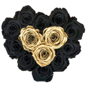 The Royal Roses - Rosenbox in Herzform mit schwarzen und goldenen Rosen