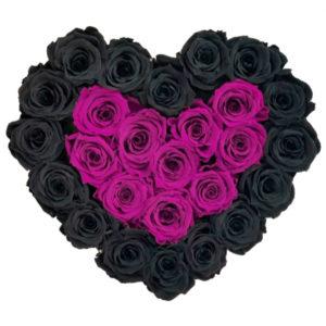 The Royal Roses - Rosenbox in Herzform mit schwarzen und magenta Rosen