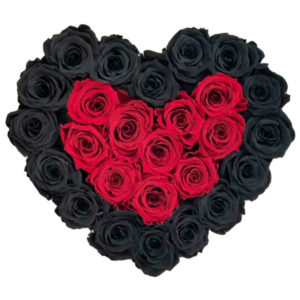 The Royal Roses - Rosenbox in Herzform mit schwarzen und roten Rosen