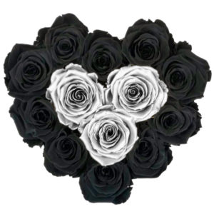 The Royal Roses - Rosenbox in Herzform mit schwarzen und silbernen Rosen