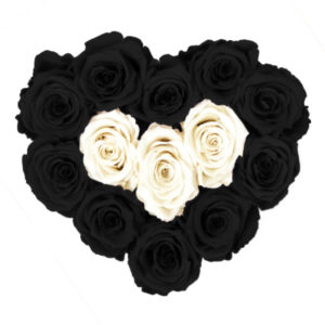 The Royal Roses - Rosenbox in Herzform mit schwarzen und weißen Rosen