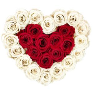 The Royal Roses - Rosenbox in Herzform mit weißen und roten Rosen