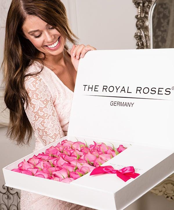 The Royal Roses - Rosenbox - Schachtelbox mit rosanen Rosen